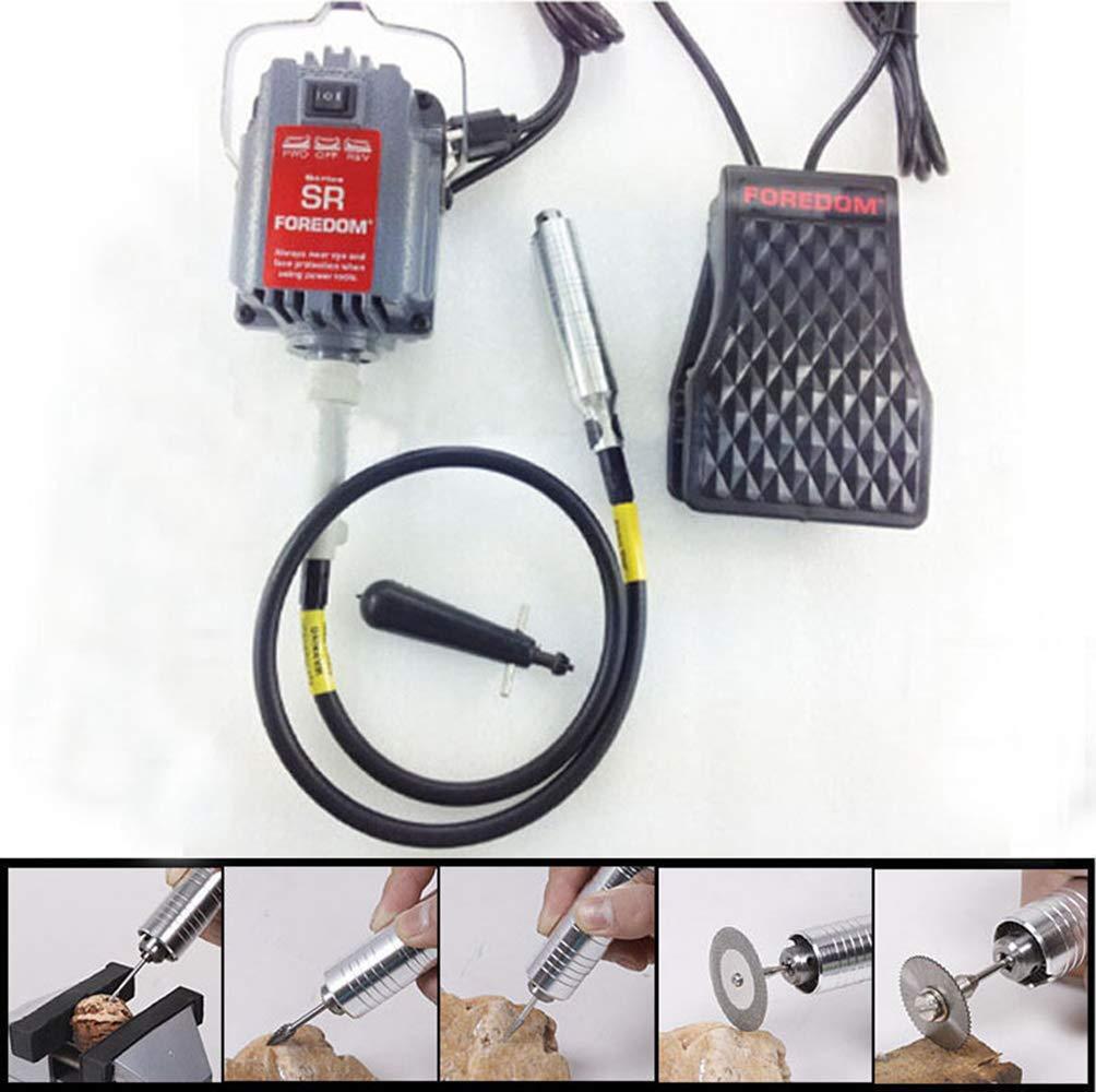 eje flexible de metal InLoveArts 24000RPM Amoladora El/éctrica Multiherramienta Herramienta Rotativa Eje flexible que cuelga la amoladora Carver Kit control de pedal 300W fuerte potencia