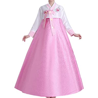 2d859d47b7 Amazon.com: Women Korean Hanbok Traditional Long Sleeve Classic Palace  Cosplay Dae Jang Geum Costume with Headpiece Set Outfit (Pink, L): Clothing