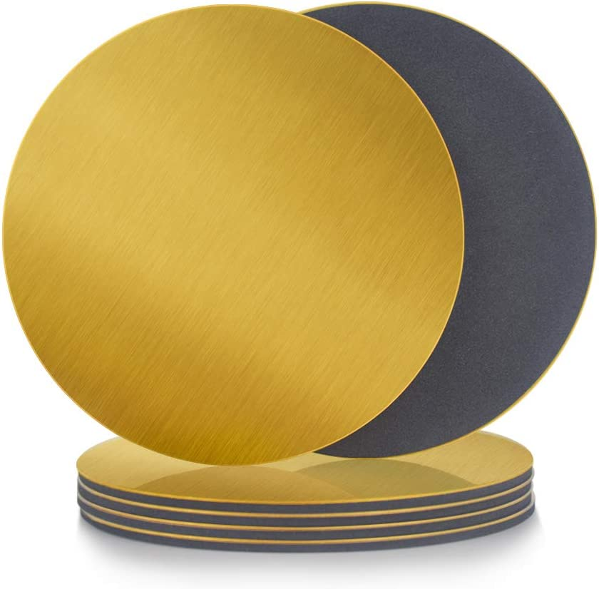 Junya Coaster Set for Drinks, Stainless Steel Drink Coasters for Housewarming Gift, Gold Round EVA Bottom Anti-Skid Coaster for Room Home Bra Decor