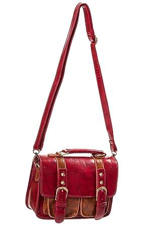 e81082ea285f Banned Sac à main sacoche rouge et marron imitation cuir steampunk   Amazon.fr  Vêtements et accessoires