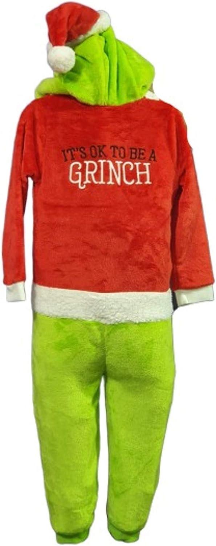 Licensed The Grinch Kids Sleepsuit Boys Girls Christmas Nightwear All in One Pj Set