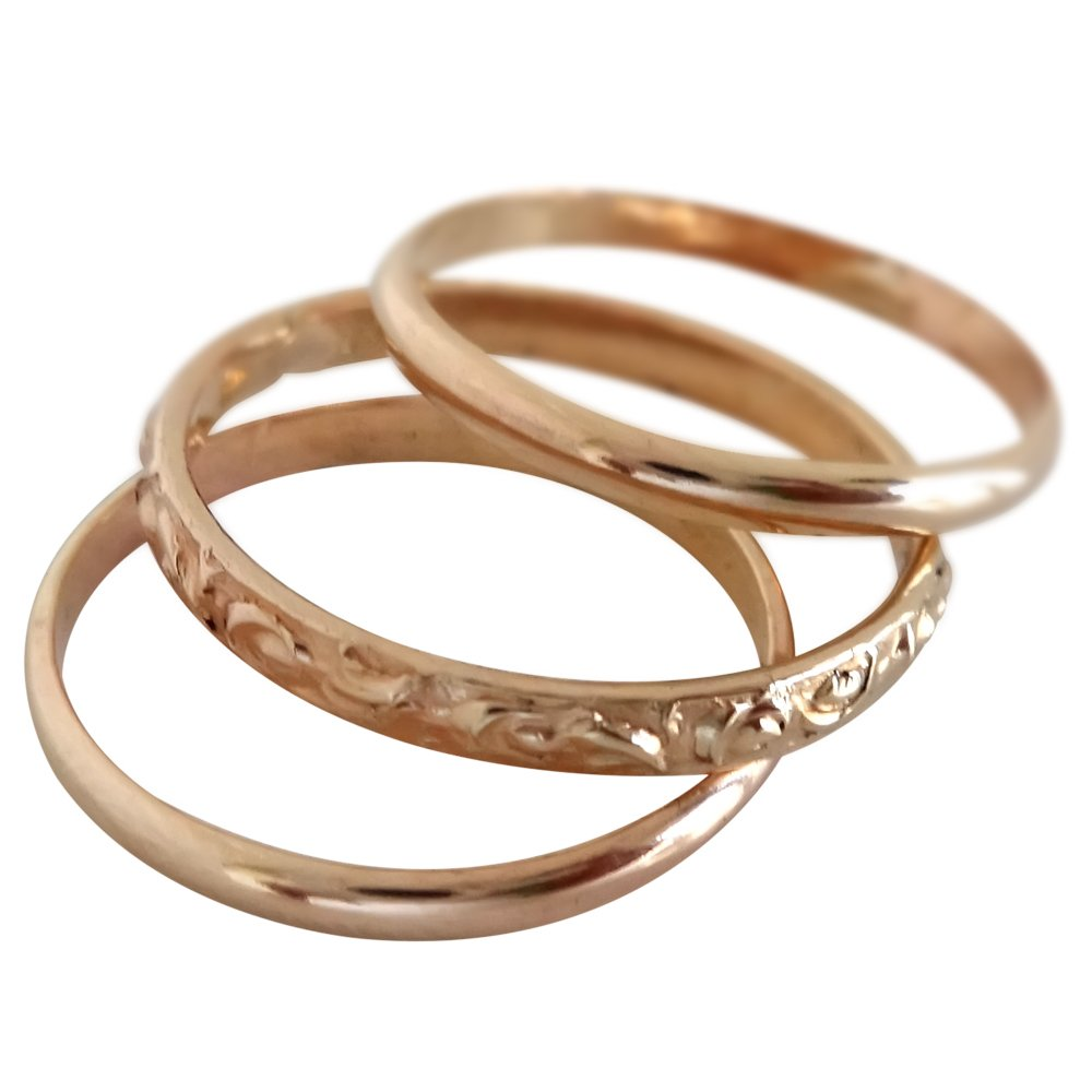 14k Gold Filled Hawaiian Trio Toe Ring Set (4) by California Toe Rings