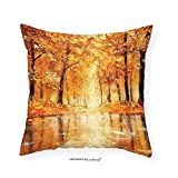 VROSELV Custom Cotton Linen Pillowcase Forest Orange Country Decor Painting Effect Print of Small Lake in Autumn Pale Fall Trees and Leaves Bedroom Living Room Dorm Art Orange Brown 24''x24''