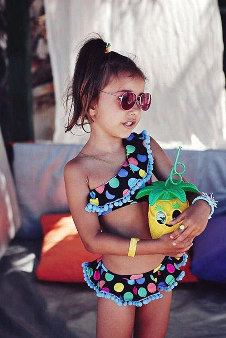 Jarsh Kids Baby Girls Creative Dot Print Hairball Tops+Pants Swimwear Bathing Beach Swimsuit