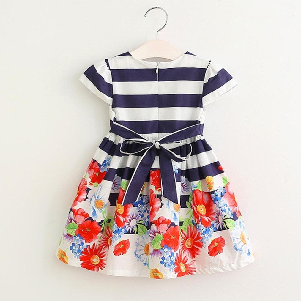Amlaiworld Robe de Filles Enfants Robe Ray/ée Florale Robe Princesse V/êtements Tenues