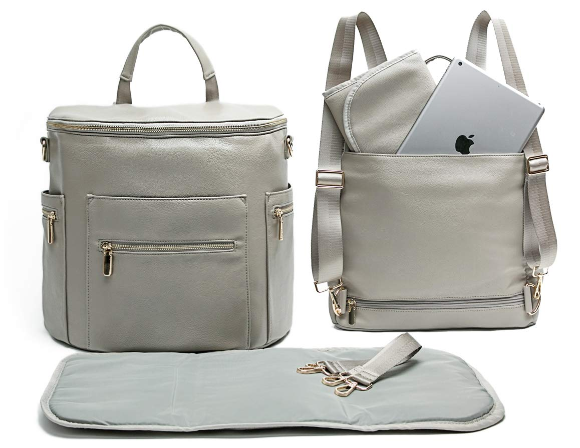 Leather Diaper Bag Backpack by Miss Fong, Diaper Bag with Changing Pad, Diaper Bag Organizer,Stroller Straps and Insulated Pockets(Grey-New Convertible) by miss fong