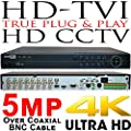 USG Business Grade 5MP 16 Channel HD-TVI Security DVR : Up To 5MP Video Resolution, 16x BNC HD Video-In, 2x SATA, USB, HDMI + VGA + BNC, RCA Audio, RS485, Alarm : Apple Android Phone App