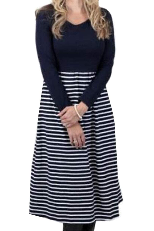 Simgahuva Mujer Stripes Vestido De Maternidad De Manga Larga Vestidos De Lactancia Materna