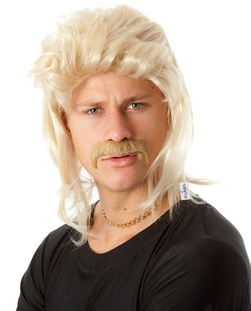 ALLAURA Blonde Mullet Wig Mustache - Hillbilly White Trash Redneck Costume 80s Mens by ALLAURA (Image #1)
