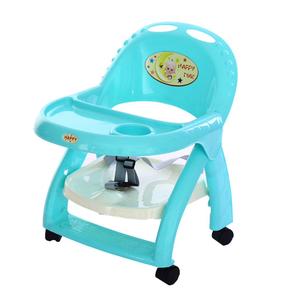 GLJ Wheeled Removable Baby Dining Chair Portable Children's Table And Chair Foldable Liftable Baby Table Folding chair