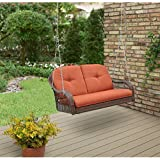 Azalea Ridge Swing 2 Seat, with Uv Protection and All Weather Wicker Cover a Sturdy Steel Frame, Great Complement to Your Sunroom or Any Outside Area, Brown