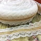 ibuyi 2,5cm × 5M ghirlanda naturale iuta iuta pizzo nastro per decorazioni per matrimonio rustico vintage Home DIY Craft festa di Natale Decor BRL2.5-A