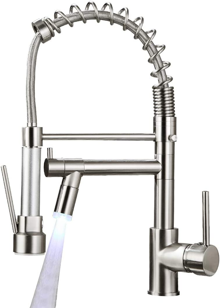 Aimadi Commerical Kitchen Faucet with Sprayer, Single Handle Pull