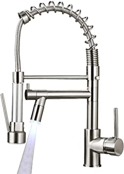 Aimadi Commerical Kitchen Faucet With Sprayer Single Handle Pull Down Sprayer Kitchen Sink Faucet With Led Light Two Spout Brushed Nickel Amazon Com