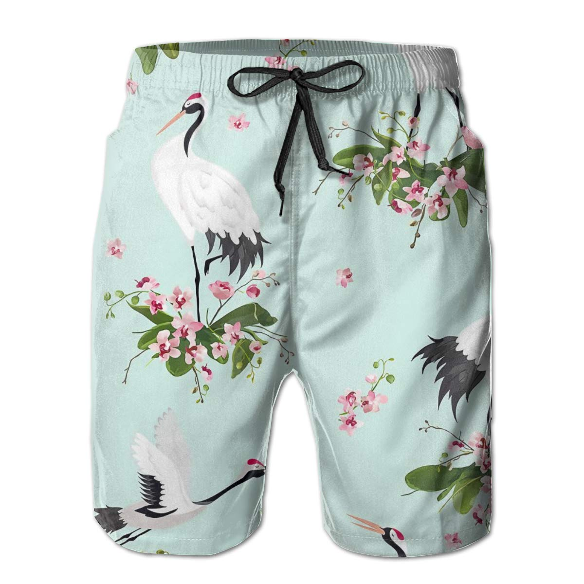 SARA NELL Mens Shorts Japanese Cranes and Flowers Blue Quick Dry Swim Trunks Beach Board Shorts