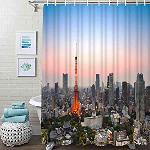 """Guftay Urban Shower Curtain, Tokyo City Skyline at Sunset Tower and The Skyscrapers Digital Asia Curtain, Waterproof Fabric for Bathroom Decor Shower Curtains Set with Hooks, 72"""" X 72"""" Sky Blue"""