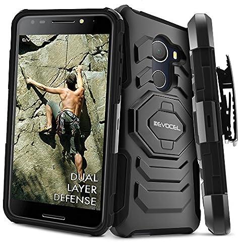 T-Mobile REVVL Case, Evocel [New Generation] Rugged Holster Dual Layer Case [Kickstand][Belt Swivel Clip] For Alcatel Walters / T-Mobile REVVL (5049W), Black (Evocel Case Alcatel)