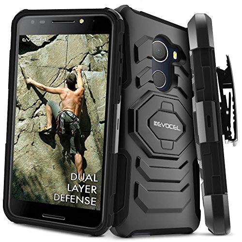 T-Mobile REVVL Case, Evocel [New Generation] Rugged Holster Dual Layer Case [Kickstand][Belt Swivel Clip] For Alcatel Walters / T-Mobile REVVL (5049W), Black (EVO-ALWALTERS-XX01)