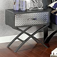 Furniture of America CM7166N Metro Gun Metal Nightstand