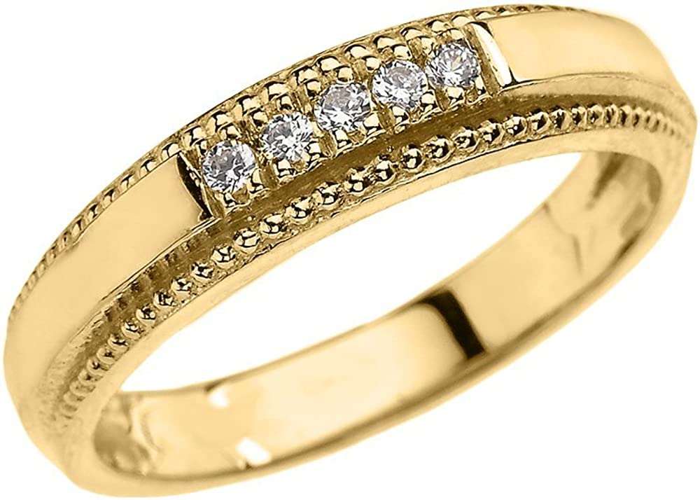 10k Yellow Gold Diamond Wedding Band Ring for Men