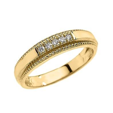 5615152eb4 14k Yellow Gold Diamond Wedding Band Ring for Men|Amazon.com