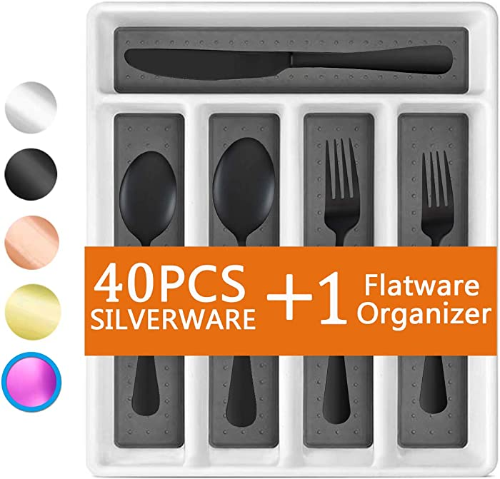 Black 40-Piece Silverware Set, Flatware Set with Organizer Mirror Polished, Dishwasher Safe Service for 8, Include Knife Fork/Spoon with 5-Compartment Non Slip Drawer Organizer Box Tray(Black)