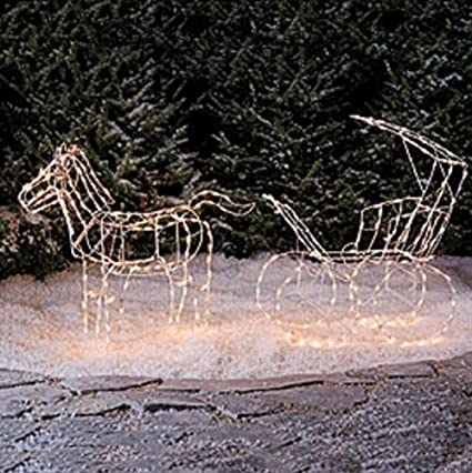 new 2 pc lighted horse carriage christmas yard decoration - Christmas Lighted Horse Carriage Outdoor Decoration