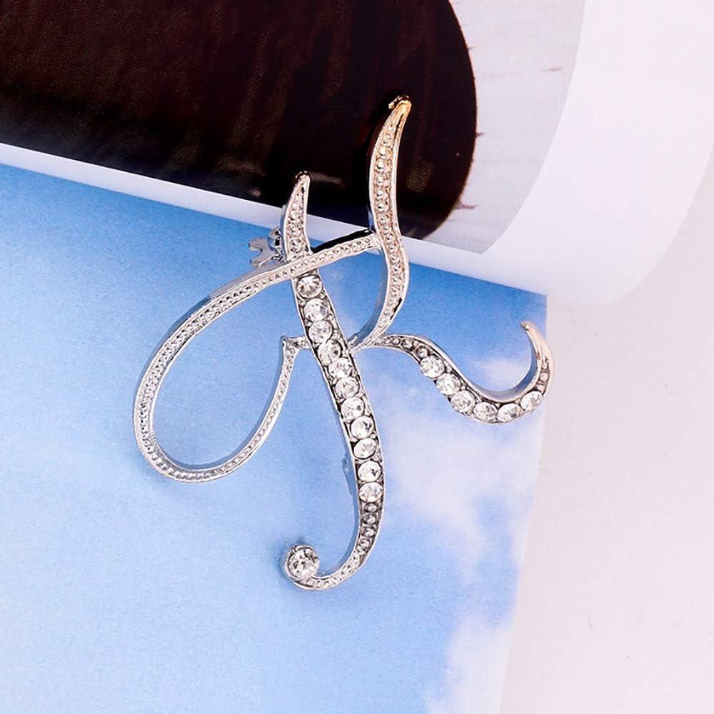 1PC Cristal 26 Lettres Anglaises Broche Couple Couple Souvenir Bijoux Amour Cadeaux 26 lettres anglaises avec broche en diamant RYTEJFES(Lettre anglaise U、Argent)