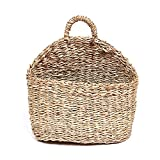 Sundlight Plant Basket, Handmade Woven Hanging Basket Natural Straw Wicker Wall Basket for Home Garden Wedding Wall Decor,7.1''x 3.9''x 8.3''