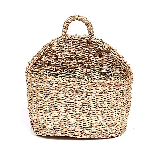 (Sundlight Plant Basket, Handmade Woven Hanging Basket Natural Straw Wicker Wall Basket for Home Garden Wedding Wall Decor,7.1