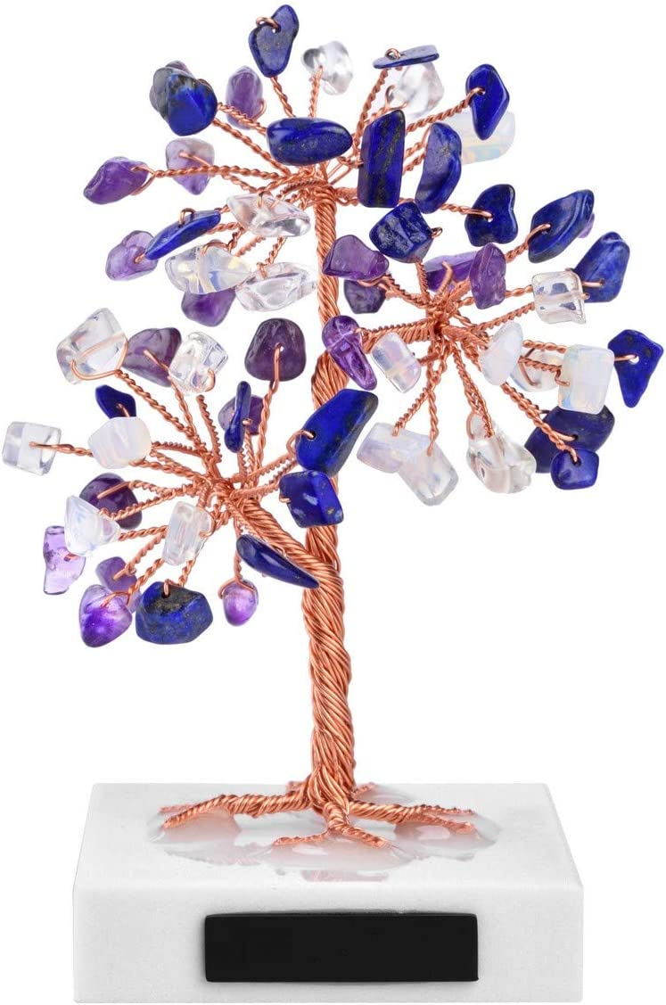 CrystalTears Mini Amethyst Lapis Lazuli Opalite Healing Crystal Stone Tree Natural Feng Shui Thumble Gemstone Money Tree on Marble Base for Home Office Decor Good Luck
