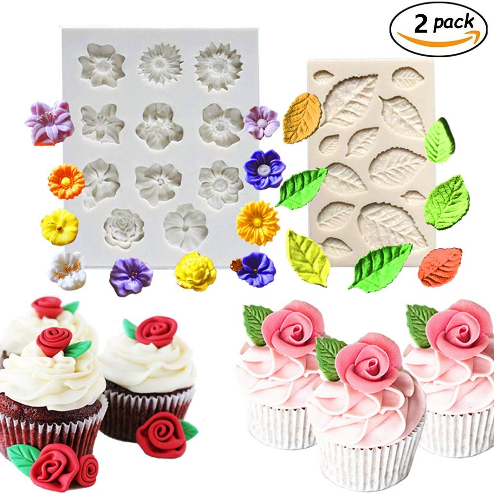 (2 Pack) JeVenis Flower Cake Fondant Mold Mini Leaves Silicone Mold Roses Fondant Mold Candy Making Silicone Tray Sunflower Chocolate Mold Decoration Tool (White)