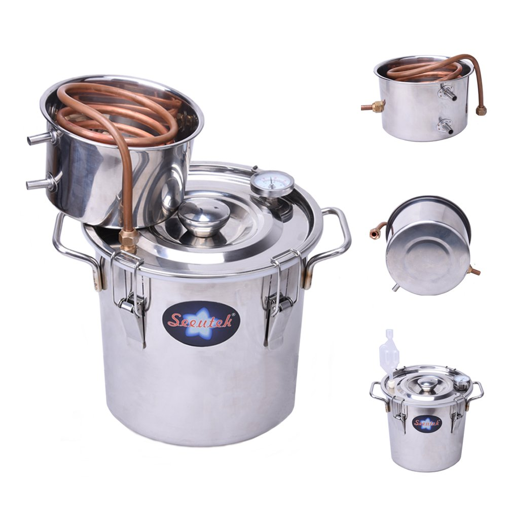 Seeutek 3 Gallon 12L Copper Tube Moonshine Still Spirits Kit Water Alcohol Distiller Home Brew Wine Making Kit Stainless Steel Oil Boiler