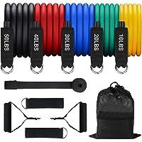ROMIX Weerstandsbanden, Set van 11 Fitnessbanden met 150lbs Stapelbaar Tubes, Deuranker, Handgrepen, Enkelriem en…
