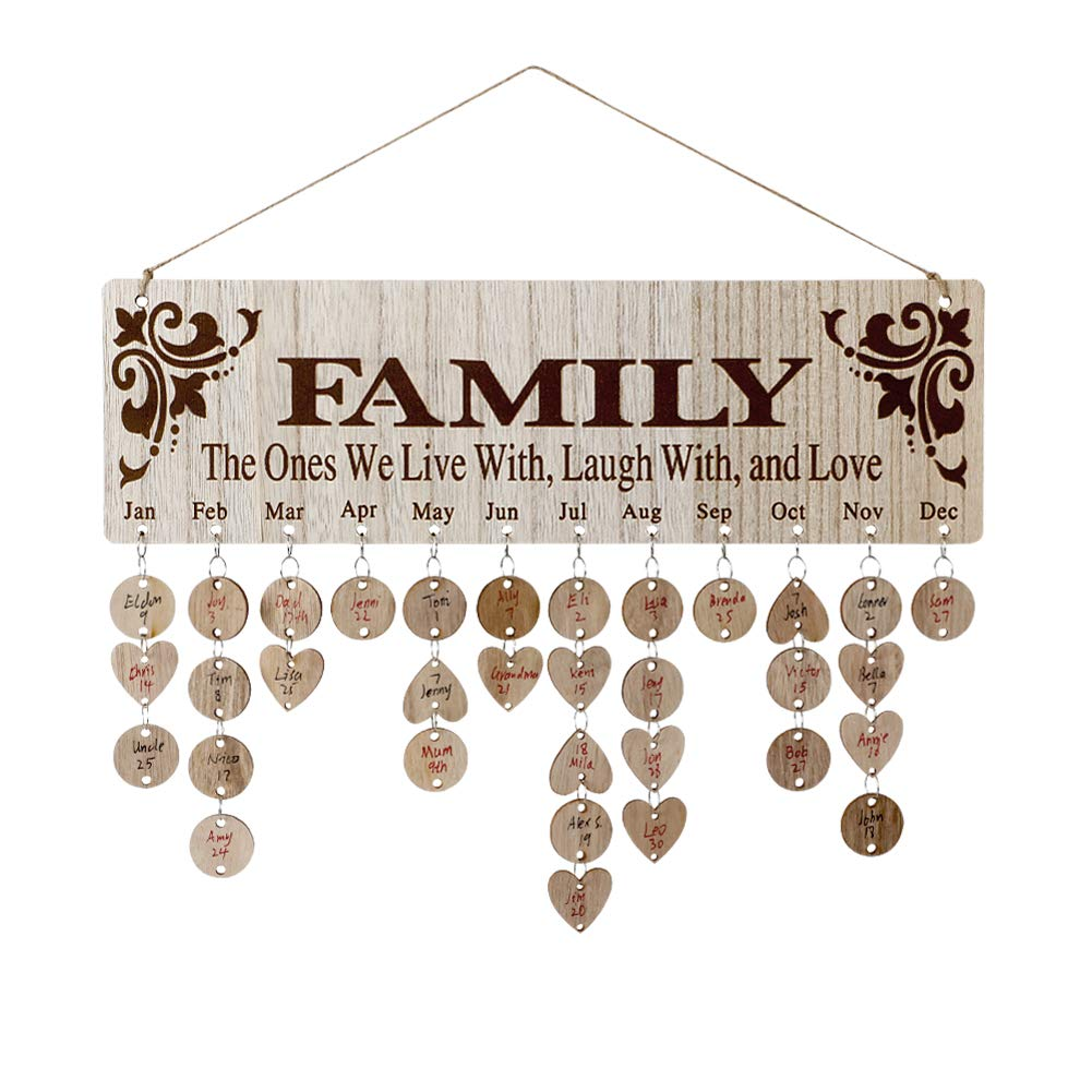 Joy-Leo Gifts for Moms Dads - Wooden Family Birthday Reminder Calendar Board [100 Wood Tags with Holes/Family Sayings Pattern ], Decorative Birthday Tracker Plaque Wall Hanging by Joy-Leo