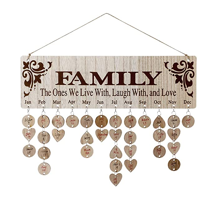 Joy-Leo Wooden Family Birthday Reminder Calendar Board [100 Wood Tags with Holes/Family Sayings Pattern ], Decorative Birthday Tracker Plaque Wall Hanging