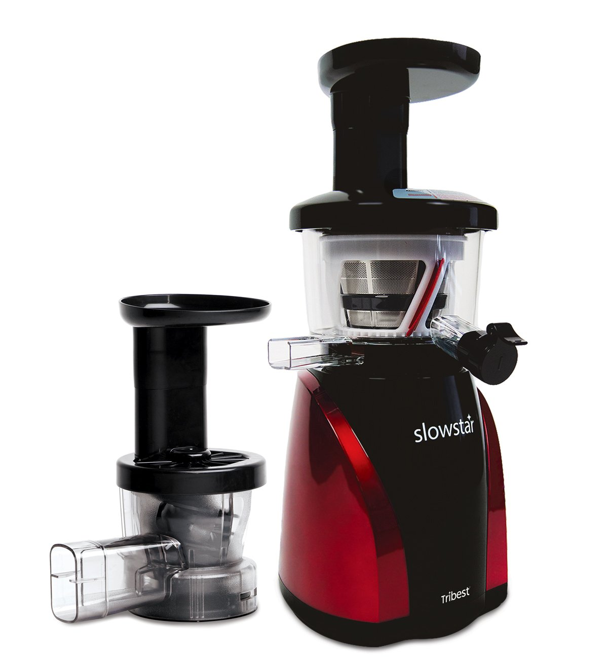 Tribest Slowstar Vertical Slow Juicer and Mincer SW-2000, Cold Press Masticating Juice Extractor in Red and Black by Tribest