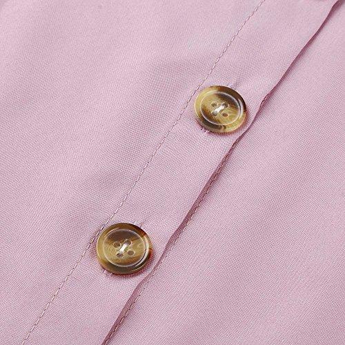 Mujeres de Mini para Playa Casual Falda Corto Niña Vestir Camisa de Botones Manga Vestidos Playa Sóli Vestidos Verano Elegante Bolsillos de Rosa con Ropa Mujer Fiesta Vestido Vestido Corta FvqSIpxw