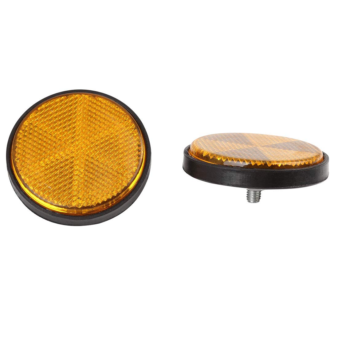 uxcell 2pcs 5mm Yellow Plastic Screw Mount Reflective Warning Motorcycle Reflector