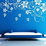 DECOR Kafe Decal Style ButterFly Floral Wall Sticker Wall poster (PVC vinyl, 149 X 71 CM)