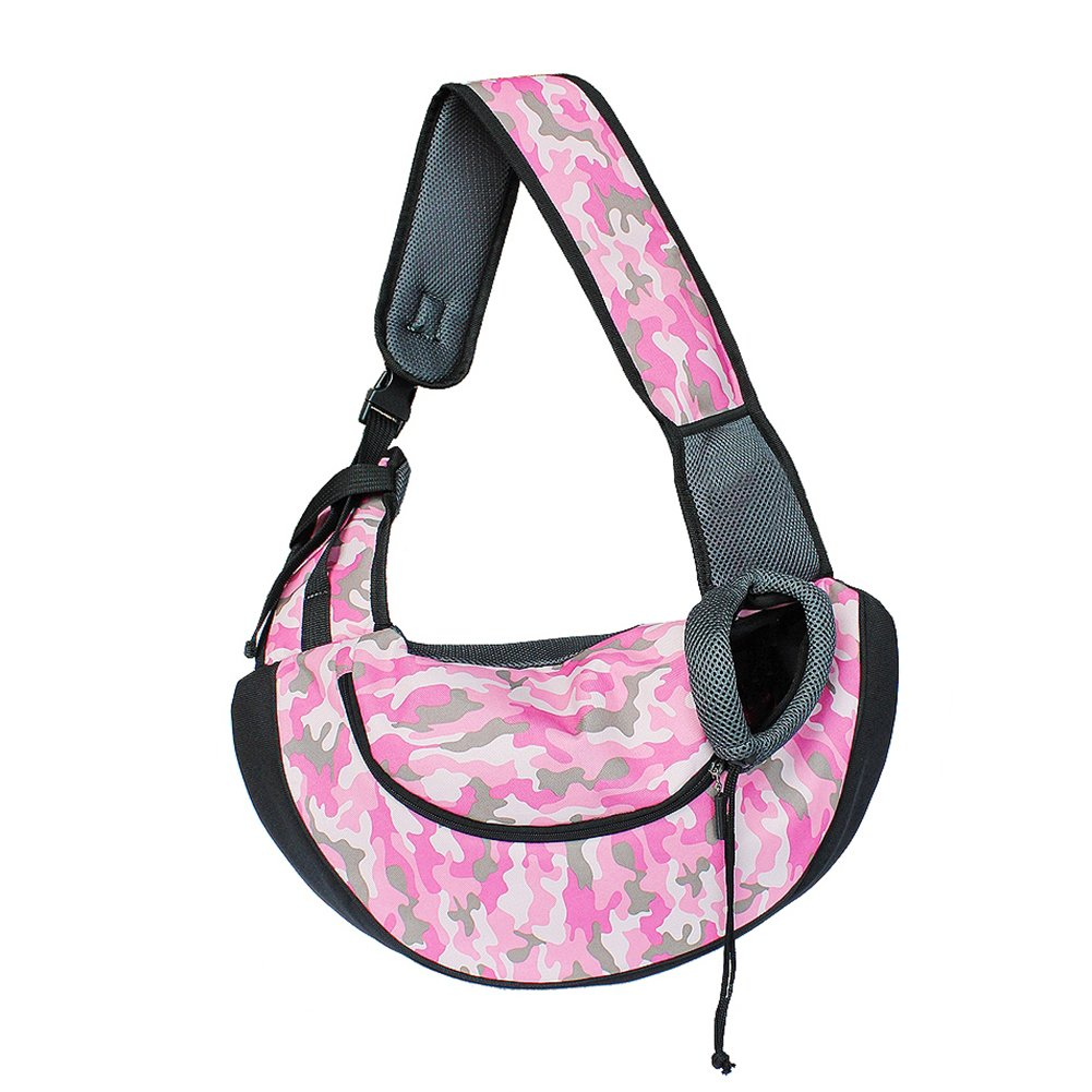 BUYITNOW Pet Sling Zipper Carrier for Small Dogs up to 15bs Outdoor Hands-Free Front Bag with Adjustable Shoulder Strap