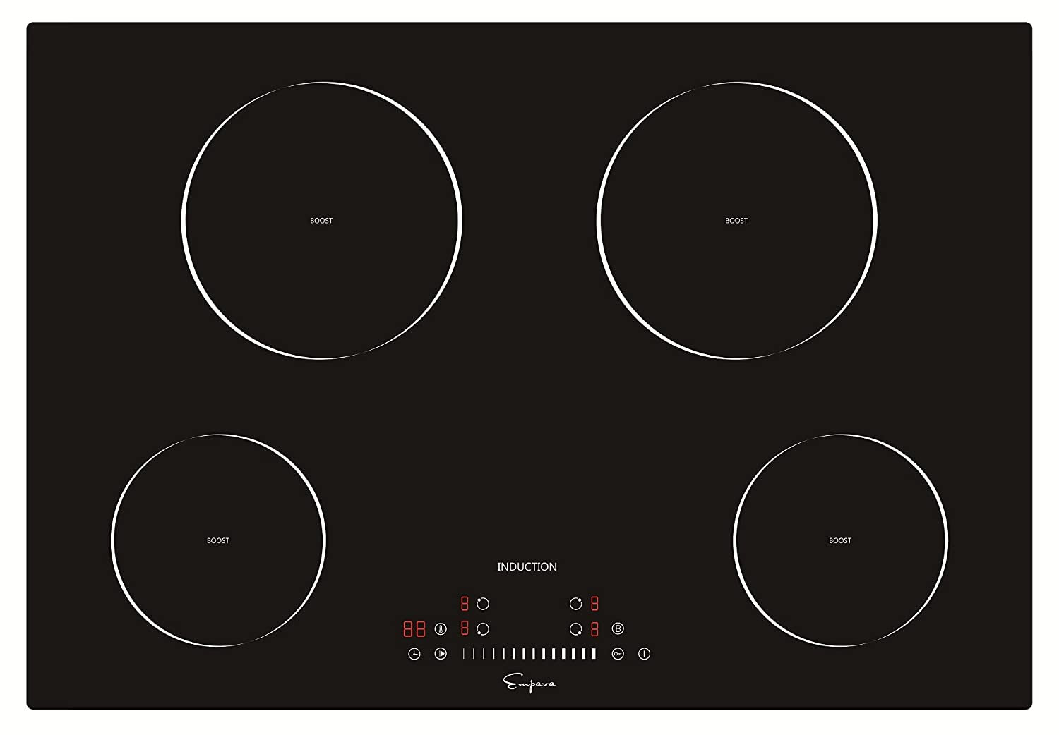 Empava 30 Inch Electric Induction Cooktop Smooth Surface with 4 Burners 240V, 30 Inch, Black