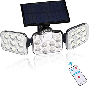 Solar Lights Outdoor, 3 Heads Solar Security Lights with Motion Sensor, Remote Control, IP65 Waterproof, 3 Lighting Mode for Garden Yard Entrance