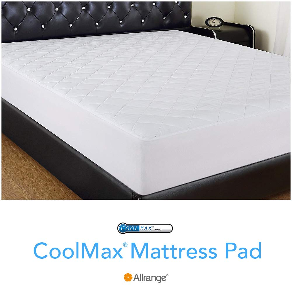 "Allrange Breathable Coolmax Quilted Mattress Pad, Coolmax and Cotton Fabric Cover, Snug Fit Stretchy to 18"" Deep Pocket, Polyester Fill, Mattress Protector, Queen"