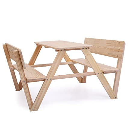 Amazoncom Homesur Beautiful Natural Wood Kids Picnic Table Bench - Picnic table with backrest