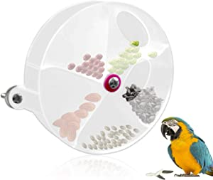 MotBach Bird Parrot Foraging System Bird Feeder Toy Clear Bird Seed Food Ball Rotate Wheel, Bird Training Toy, Bite Resistant Food Box Bird Feed Storage Container for Parrots Parakeet Cockatiel Conure