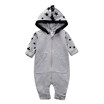 12-18 Months, Gray Gallity Newborn Baby Boy Girl Jumpsuit Cotton Cute Stars Print Romper Long Sleeve One-Piece Bodysuit Infant Summer Clothes Outfits
