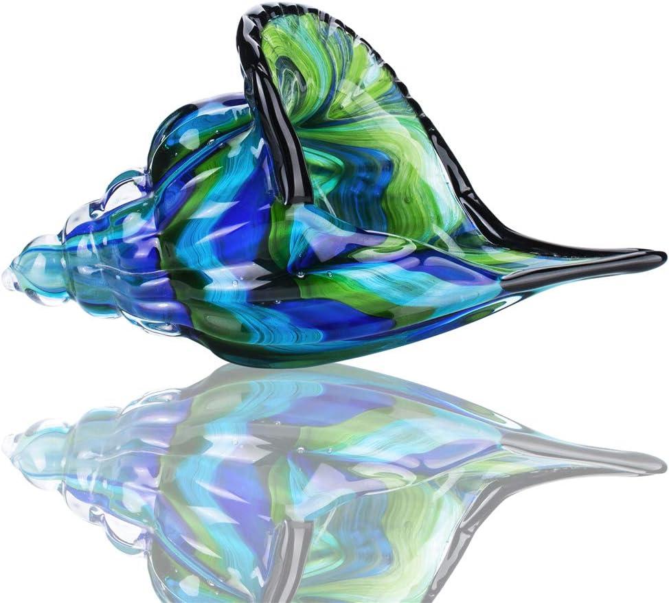 Glass Conch, Hand Blown Seashell Art Glass Figurine, Beautiful Home Decor, Crystal Glass Paperweight