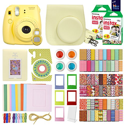 FujiFilm Instax Mini 8 Camera Yellow + 40 Instax Film + Accessories KIT for FujiFilm Instax Mini 8 Includes: Case Frames + 64 Page Photo Album + Selfie Lens + Colored Filters + More