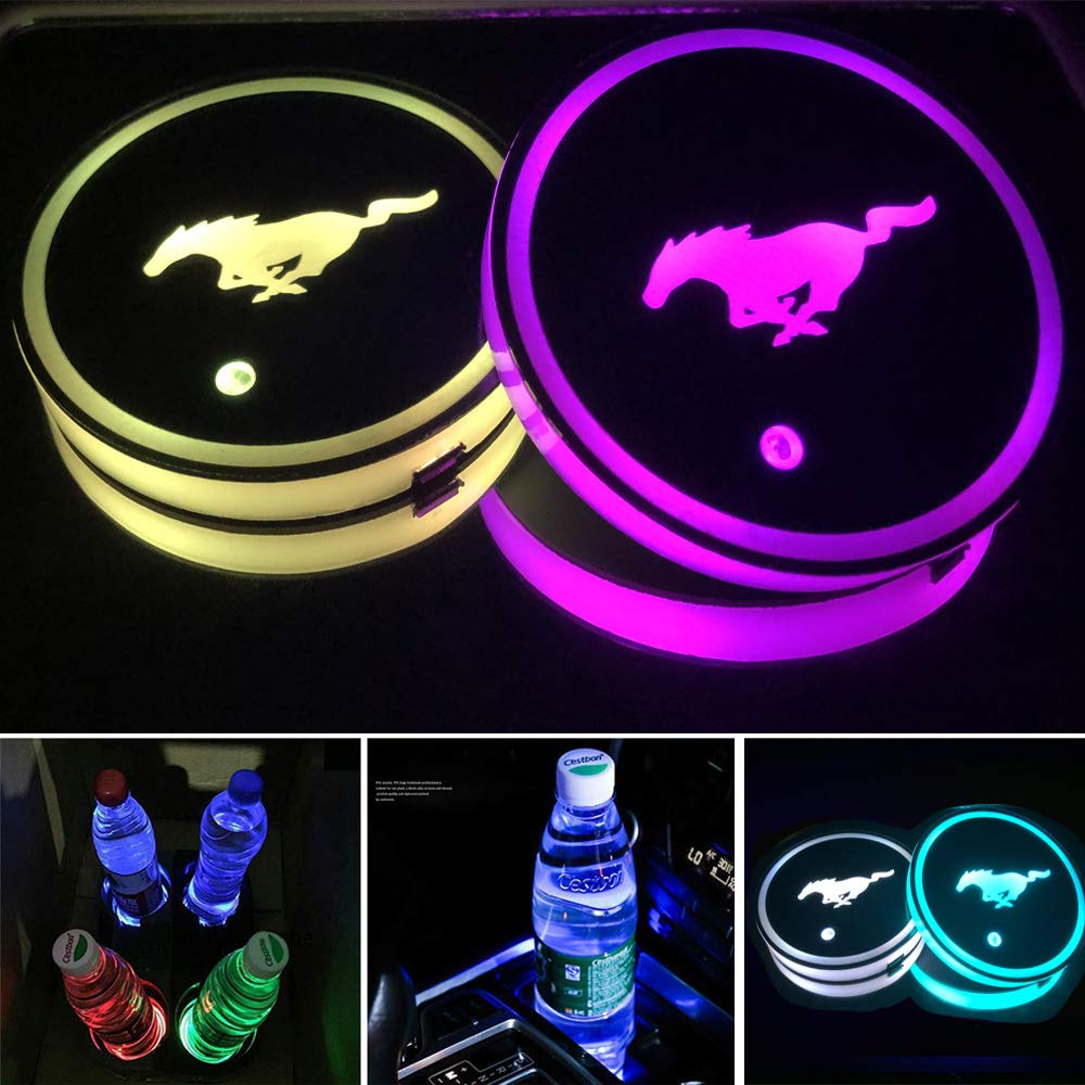 Waterproof Interior Atmosphere Lamp Decoration Lights for BMW Accessory ICESAR 2 Pcs 68 mm Switchable 7 Colors LED Cup Holder Mat Pad Coaster with USB Cable Fit for Mustang